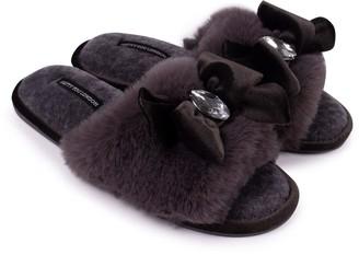 Pretty You London Darcey Luxury Jewel Slider Slippers In Smoke