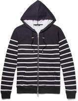 Balmain - Striped Loopback Cotton-Jersey Zip-Up Hoodie