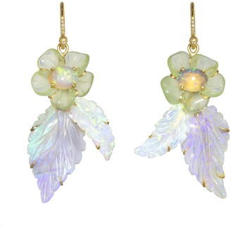 Irene Neuwirth One-Of-A-Kind Tropical Flower Yellow Gold Drop Earrings