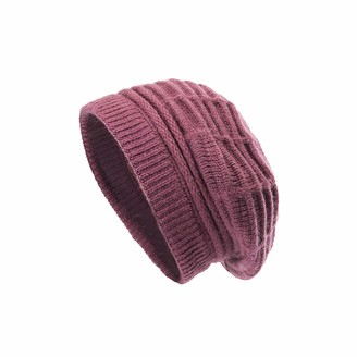 Juzzae Thermal Slouch Beanie Knit Hat for Women Warm Ladies Winter Hats Thick Wool Slouchy Beret Ski Skull Cap Burgundy