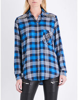 The Kooples Embellished-detail checked woven shirt