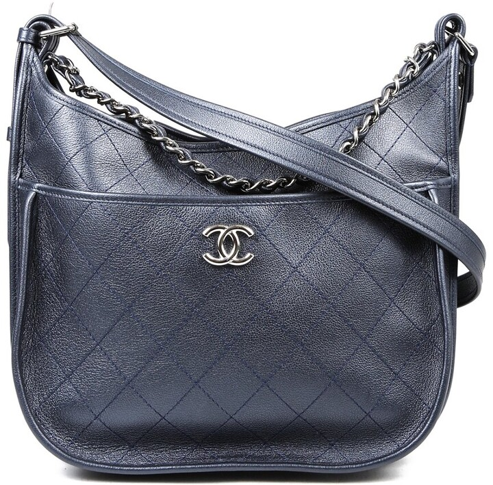 Chanel Blue Quilted Leather Jungle Stroll Medium Cc Hobo Bag