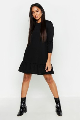 boohoo Jersey Ruffle Hem Shift Dress