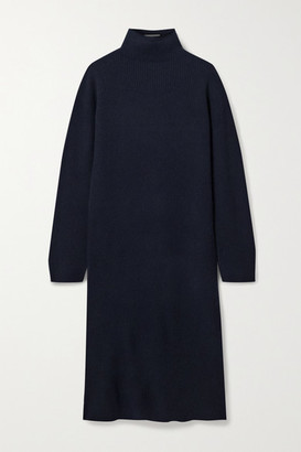 The Row Moa Ribbed Wool And Cashmere-blend Turtleneck Midi Dress - Navy