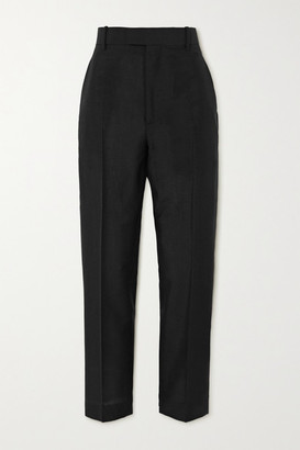 Bottega Veneta Mohair And Wool-blend Straight-leg Pants - Black