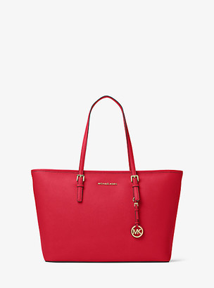 MICHAEL Michael Kors MK Jet Set Medium Saffiano Leather Top-Zip Tote Bag - Bright Red - Michael Kors