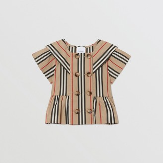 Burberry Childrens Icon Stripe Cotton Poplin Sailor Top