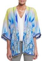 Etro Open-Front Tie-Dye Jacket, Blue