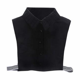DEELIN Womens Tops Plaid New Blouse False Collar Clothes Office Ladies Work Black White Shirt Detachable Fake Half Shirt Collars Lapel Choker Blouse(White One Size)