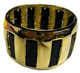 Noir - Gold Bangle with Black Crystals