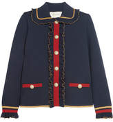 Gucci Ruffled Metallic Merino Wool-blend Cardigan - Navy