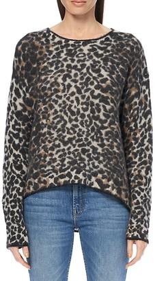 360 Cashmere Leopard Print Tipped Crew Sweater