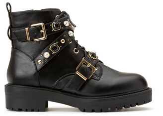 La Redoute Collections Embellished Buckled Ankle Boots with Chunky Block Tread Heel