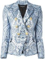 Balmain paisley double breasted blazer