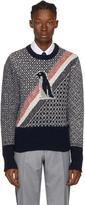 Thom Browne Navy Fairisle Penguin Icon Crewneck Pullover