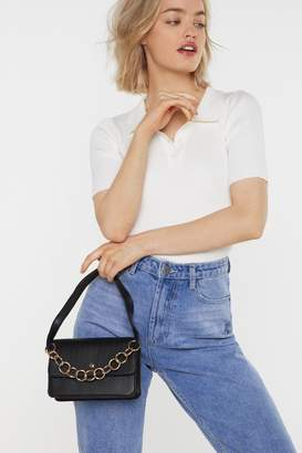 Nasty Gal Womens WANT Hanging On the Telephone Ring Handle Bag - black - One Size