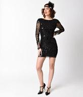 Unique Vintage 1920s Style Black Sequin Sheer Long Sleeve Short Flapper Dress