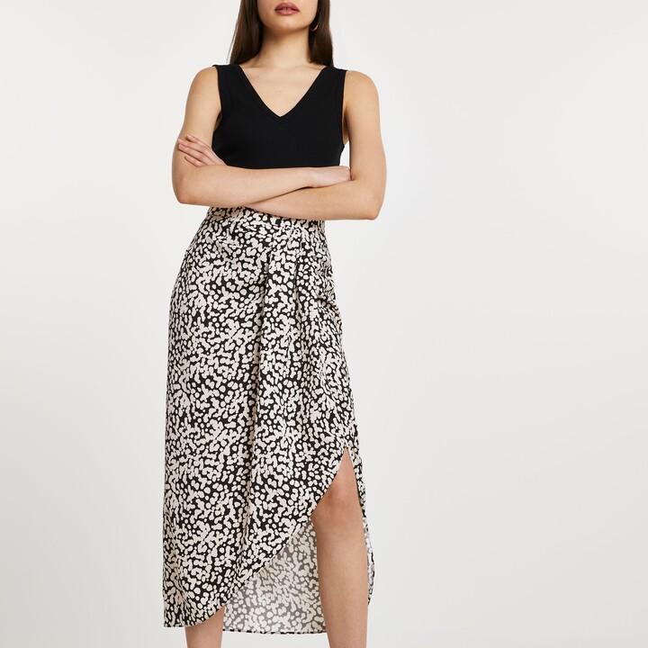 River Island Womens Black spot front spilt midi skirt