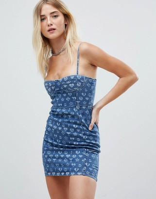Jaded London symbol printed denim corset mini dress-Blue