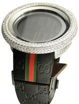 Gucci White Bezel I Yah 114 Digital 2 Timezone Vs Diamond Mens Watch