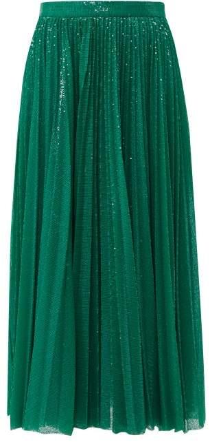 MSGM Sequinned Pleated Midi Skirt - Womens - Green