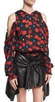 Magda Butrym Foggi Cold-Shoulder Floral-Print Silk Hoodie, Black