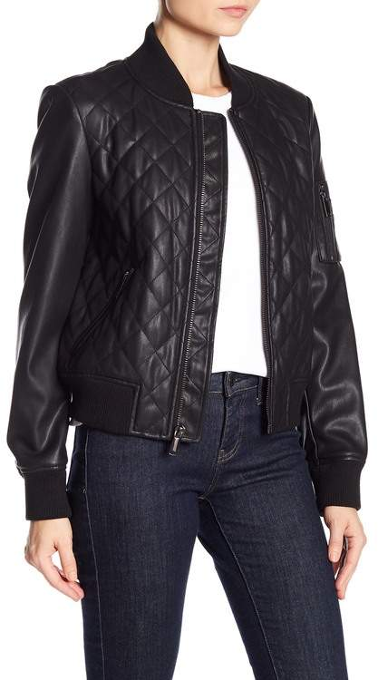 French Connection Diamond Quilted Faux Leather Jacket