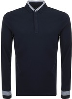 Armani Exchange Long Sleeved Polo T Shirt Navy