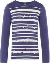 Benetton Girls Striped Star Print T-Shirt