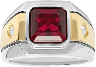 Men's Sterling 14k Gold Over Silver Lab-Created Ruby & White Sapphire Ring