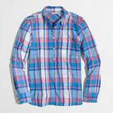 J.Crew Factory Petite plaid gauze popover shirt