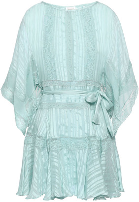 Zimmermann Lace-trimmed Silk-jacquard Mini Dress