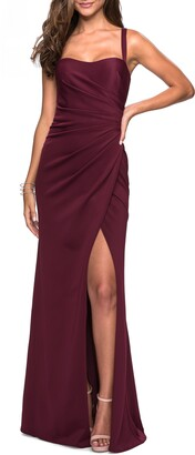 La Femme Ruched Jersey A-Line Gown