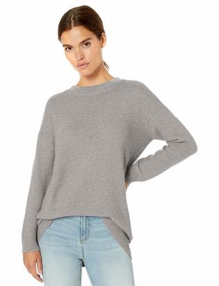 Daily Ritual Amazon Brand Women's Wool Blend Texture-Stitch Crewneck Sweater Light Grey Heather Medium