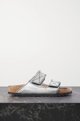 Proenza Schouler Birkenstock Arizona Topstitched Metallic Leather Sandals - Silver