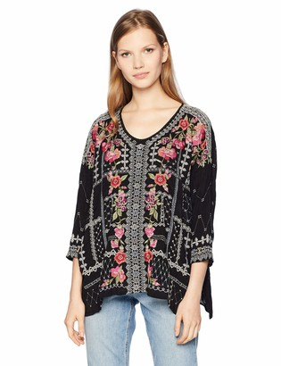 Johnny Was Women's 3/4 Sleeve Boxy Blouse with Multicolor Embroidery