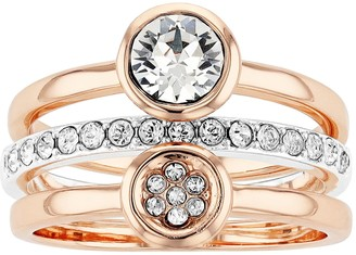 Brilliance+ Brilliance Two-Tone Stacking Ring Set with Swarovski Crystals