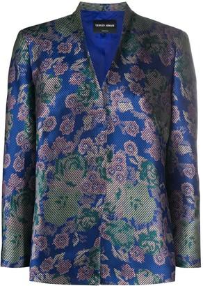 Giorgio Armani Pre Owned Floral Print Lapeless Jacket