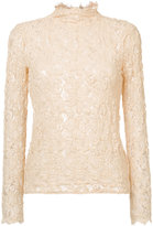 Helmut Lang lace high neck top - women - Cotton/Spandex/Elastane/Polyimide - XS/S