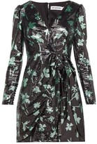Self-Portrait Self Portrait Leaf-sequinned Wrap Dress - Womens - Black Green