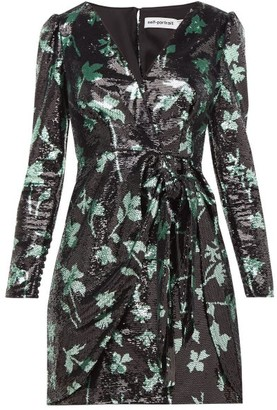 Self-Portrait Leaf-sequinned Wrap Dress - Black Green