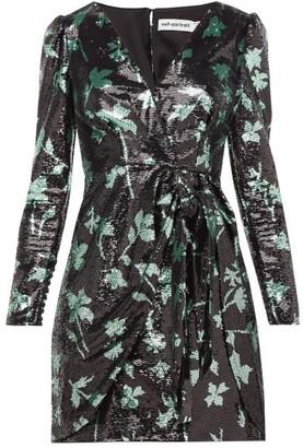Self-Portrait Leaf-sequinned Wrap Dress - Womens - Black Green