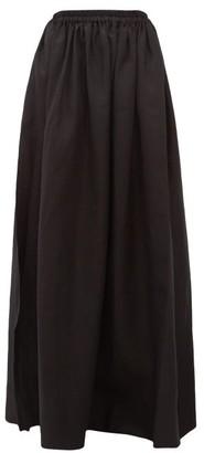 Matteau Hemline-slit Linen-blend Maxi Skirt - Black