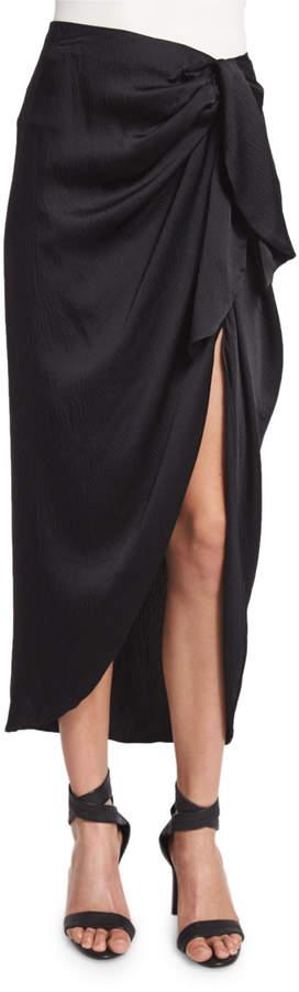 KENDALL + KYLIE Waist-Tie Silk Midi Skirt, Black