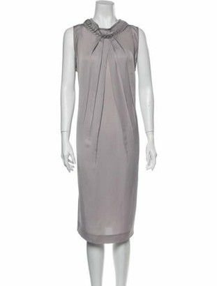 Valentino Crew Neck Midi Length Dress Grey