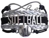 HuiLin Jewelry Softball Bracelet- Girls Softball Jewelry - Perfect Softball Player- Team and Coaches Gifts- Infinity Love Bracelet