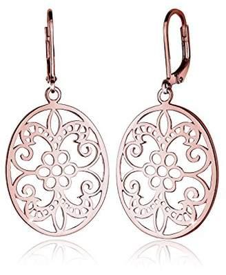 Elli Women Genuine Jewellery Earrings Dangle & Drop Ear Ornament 925 Sterling Silver Gold Plated Rose