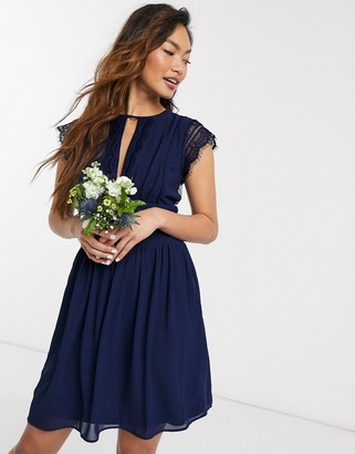 TFNC bridesmaid lace detail mini bridesmaid dress in navy