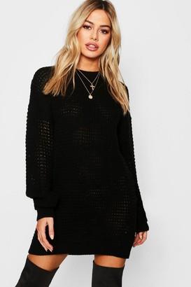 boohoo Petite Waffle Knit Oversized Jumper Dress