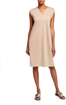 Eileen Fisher V-Neck Sleeveless Flex Ponte Dress